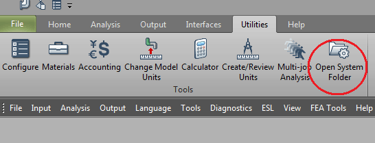 CAESAR II utilities menu