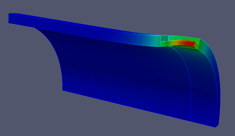 FEA model of corroded pipe with pressure bulge